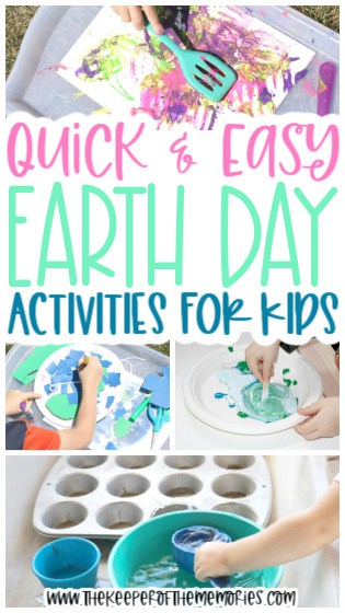 collage of Earth Day activities with text: Quick & Easy Earth Day Activities for Kids