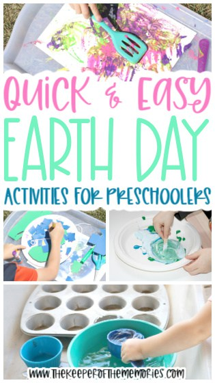 collage of Earth Day activities with text: Quick & Easy Earth Day Activities for Preschoolers