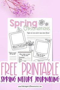spring nature journaling for kids surrounded by flowers with text: Free Printable Spring Nature Journaling