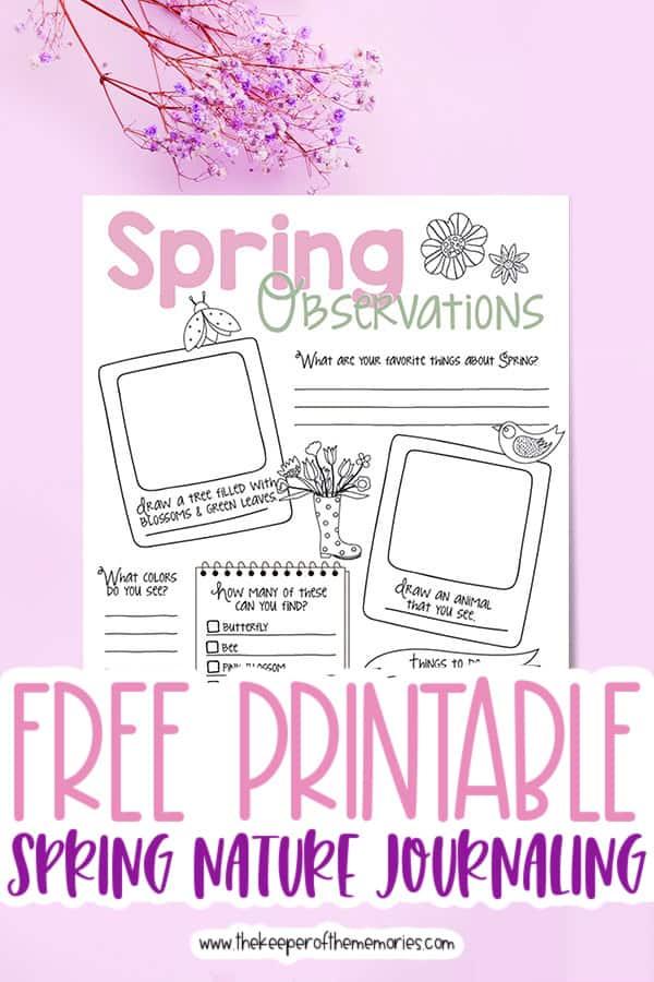 Free Printable Spring Nature Journaling for Kids