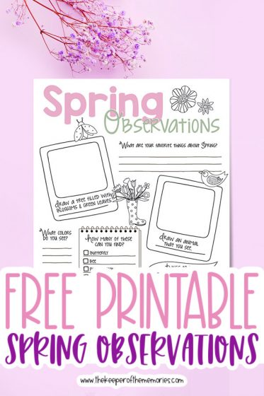 spring nature journaling for kids surrounded by flowers with text: Free Printable Spring Observations