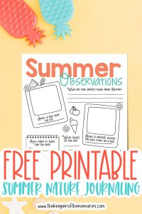 summer nature journaling for kids surrounded by pineapple decorations with text: Free Printable Summer Nature Journaling