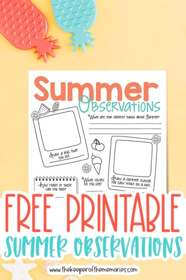 summer nature journaling for kids surrounded by pineapple decorations with text: Free Printable Summer Observations