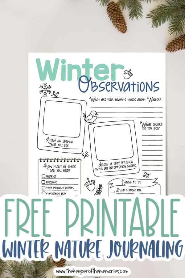 Free Printable Winter Nature Journaling for Kids