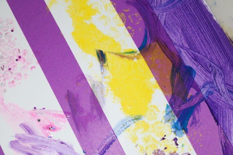 preschooler's tape resist rug painting