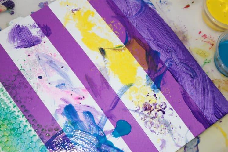 preschooler's rug painting process art