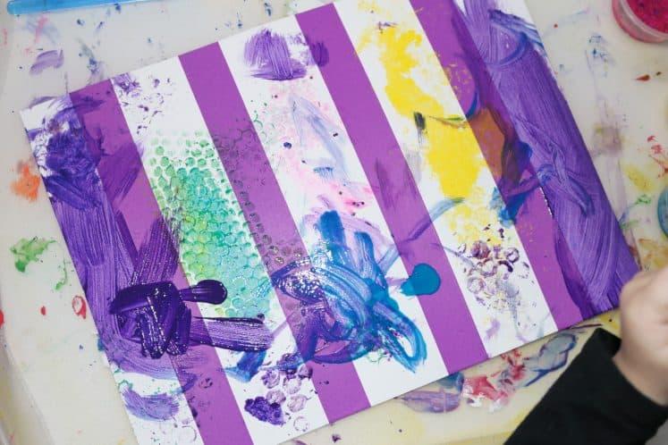 preschooler's tape resist artwork