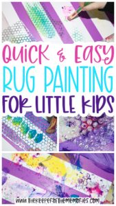 Rug Painting for Kids images with text: Quick & Easy Rug Painting for Little Kids