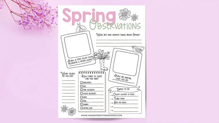 Spring Observations printable next to flowers