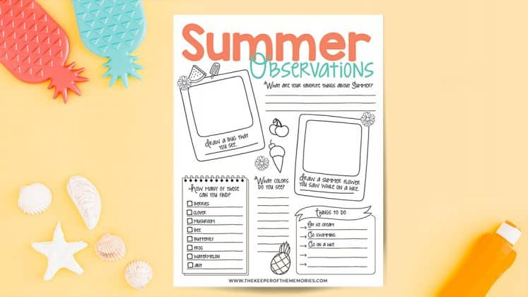 Summer Observations printable surrounded by decorative summer items