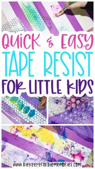 Rug Painting for Kids images with text: Quick & Easy Tape Resist for Little Kids