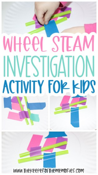 collage of wheel STEAM images with text: Wheel STEAM Investigation Activity for Kids