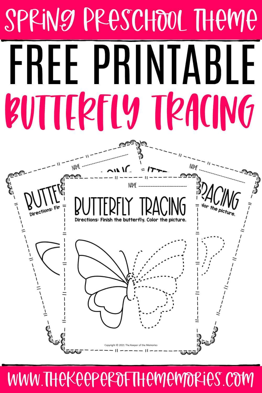 Free Printable Butterfly Tracing Spring Preschool Worksheets