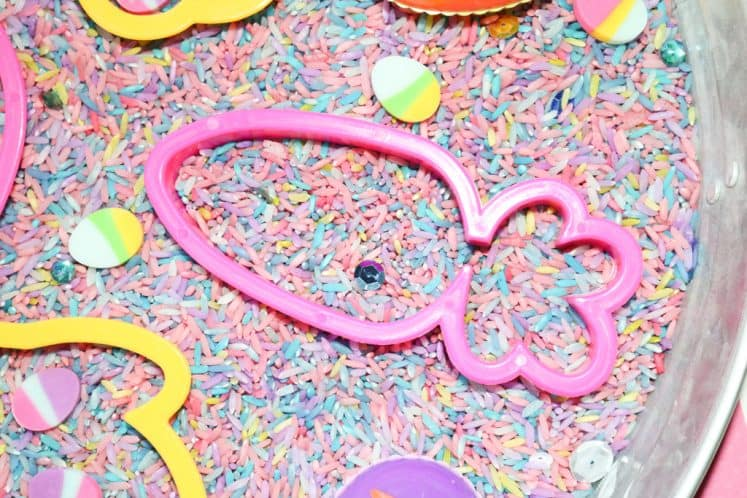 pink carrot cookie cutter in Easter Sensory Tray