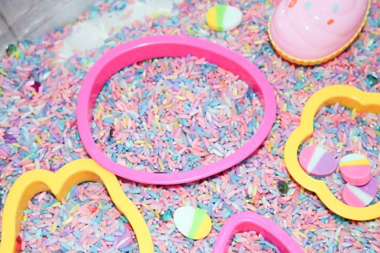 pink egg cookie cutter in Easter Sensory Tray