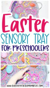 collage of Easter Sensory Activity images with text: Easter Sensory Tray for Preschoolers