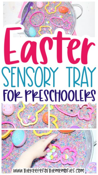 collage of Easter Sensory Activity images images with text: Easter Sensory Tray for Preschoolers