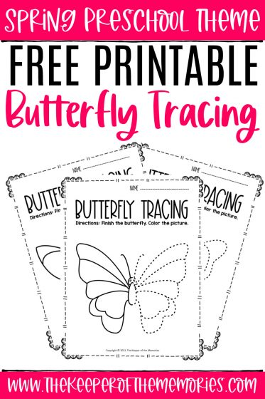Butterfly Tracing Spring Preschool Worksheets with text: Spring Preschool theme Free Printable Butterfly Tracing