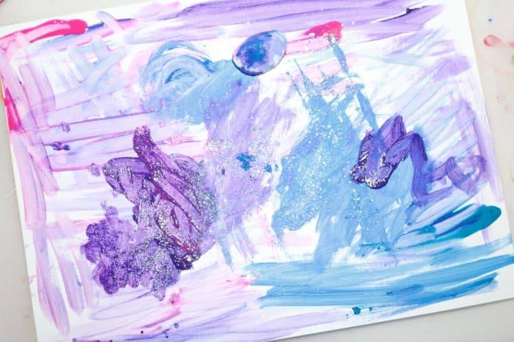 preschooler's galaxy painting for kids process art