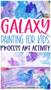 collage of galaxy painting images with text: Galaxy Painting for Kids Process Art Activity