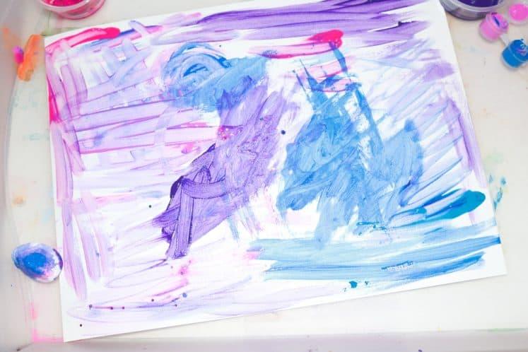 preschooler's galaxy process art