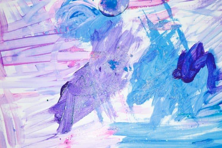 galaxy process art with glitter