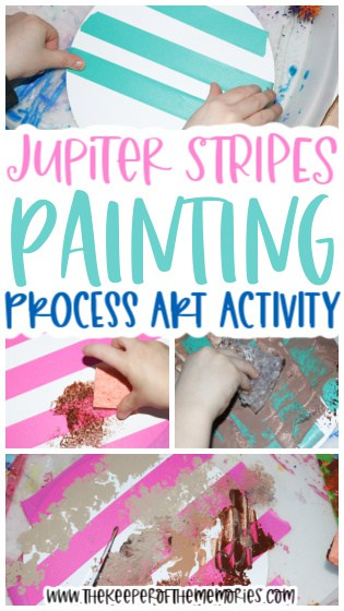 collage of Jupiter Painting for Kids images with text: Jupiter Stripes Painting Process Art Activity