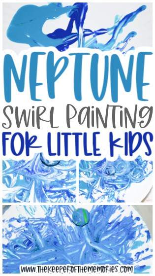 collage of Neptune Painting for Kids images with text: Neptune Swirl Painting for Little Kids