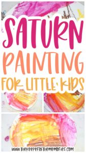 collage of Saturn Painting for Kids images with text: Saturn Painting for Little Kids