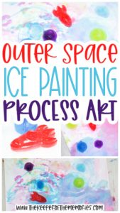 collage of space ice painting for kids with text: Outer Space Ice Painting Process Art