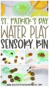 collage of St. Patrick's Day Sensory Bin images with text: St. Patrick's Day Water Play Sensory Bin