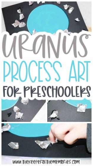 collage of Uranus Process Art images with text: Uranus Process for Preschoolers