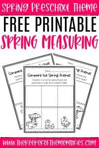 Measuring Spring Preschool Worksheets with text: Spring Preschool Theme Free Printable Spring Measuring