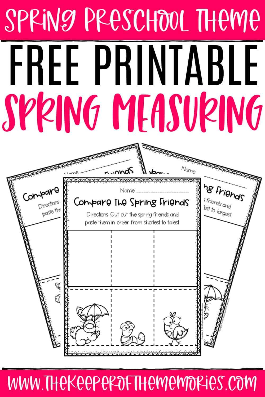 Free Printable Measuring Spring Preschool Worksheets