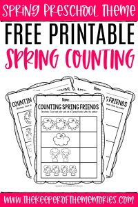 Free Printable Counting Spring Preschool Worksheets with text: Preschool Spring Theme Free Printable Spring Counting
