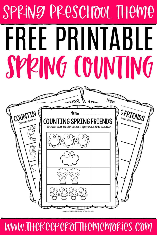 Free Printable Counting Spring Preschool Worksheets