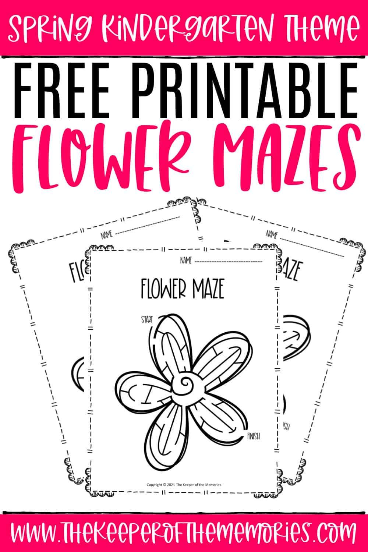 Free Printable Flower Mazes Spring Kindergarten Worksheets