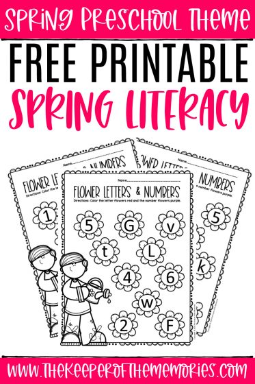 collage of spring letters and numbers preschool worksheets with text: Spring Preschool Theme Free Printable Spring Literacy