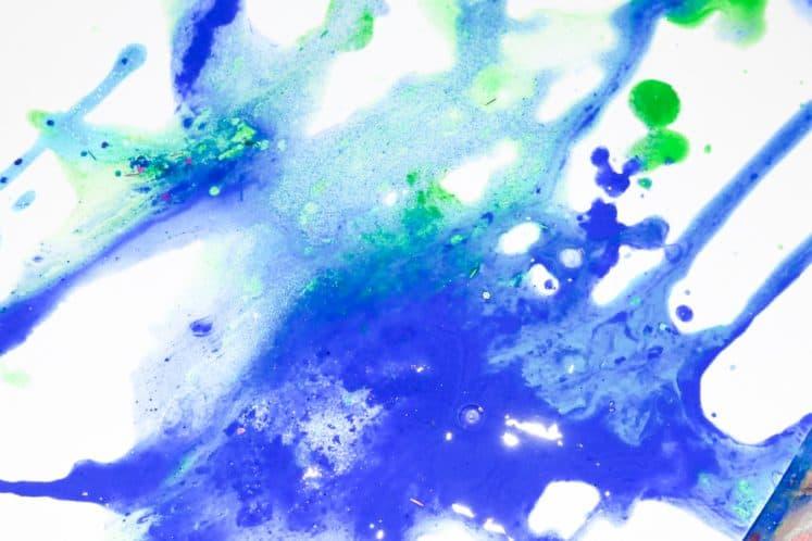 child's ocean salt painting process art