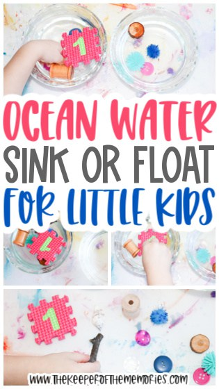collage of ocean water experiment images with text: Ocean Water Sink or Float for Little Kids