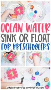 collage of ocean water experiment images with text: Ocean Water Sink or Float for Preschoolers