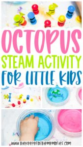 collage of octopus activity images with text: Octopus STEAM Activity for Little Kids