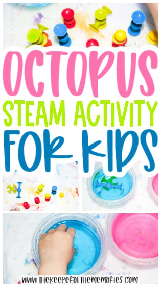 collage of octopus activity images with text: Octopus STEAM Activity for Kids