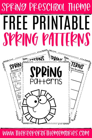 Free Printable Patterns Spring Preschool Worksheets with text: Spring Preschool Theme Free Printable Spring Patterns