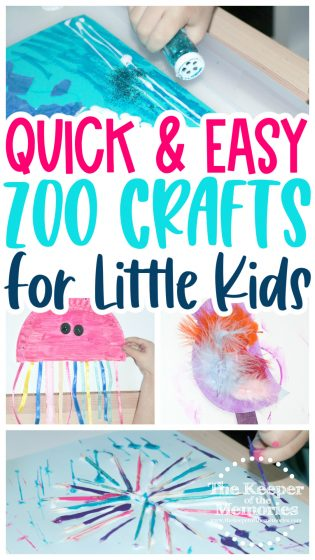 collage of zoo crafts with text: Quick & Easy Zoo Crafts for Little Kids