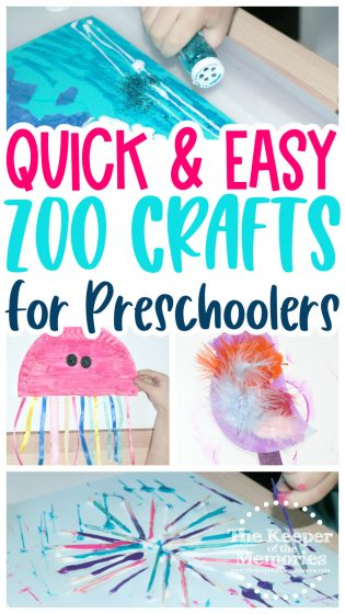 collage of zoo crafts with text: Quick & Easy Zoo Crafts for Preschoolers