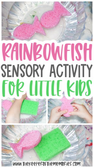 collage of water transfer activity images with text: Rainbowfish Sensory Activity for Little Kids