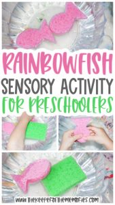 collage of water transfer activity images with text: Rainbowfish Sensory Activity for Preschoolers