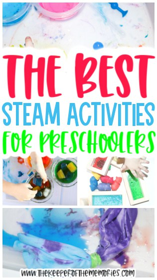 collage of STEAM Activities with text: The Best STEAM Activities for Preschoolers