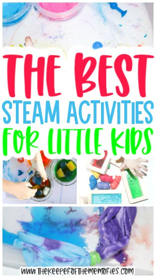 collage of STEAM Activities with text: The Best STEAM Activities for Little Kids